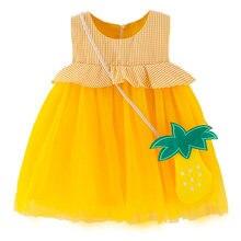 Летнее платье без рукавов для маленьких девочек милое клетчатое