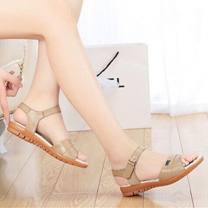 ФОТО Lady Metal Hoop Loop Buckle Plus size 4-11 Genuine Real leather Pregnant Women sandals On Platform Summer school girl Flip flops