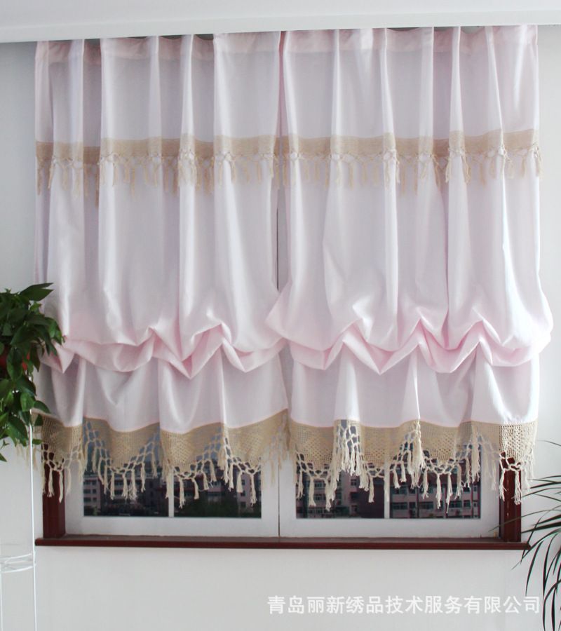 ZHH 2016 New Pastoral Style Adjustable Balloon Curtains For Living Room  Beautiful Curtains With Lace For
