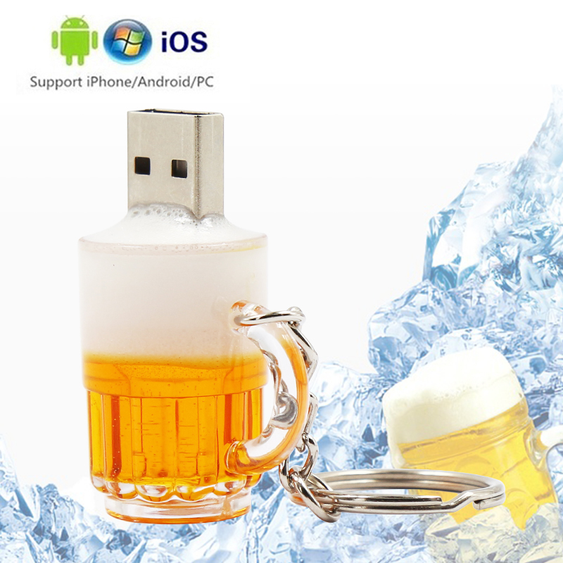 Mini Beer Memory Stick Usb 3.0 Waterproof Usb Flash Drive 128gb U Disk Key Pendrive 64GB 32GB 16GB 8GB Pen Drive Free Adapter