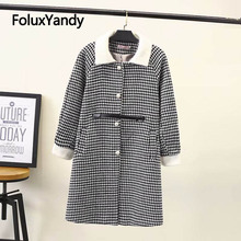 цена на Pearls Single Breasted Wool Coat for Women Turn-down Collar A-line Plaid Plus Size Autumn Winter Coat Outerwear KKFY2860