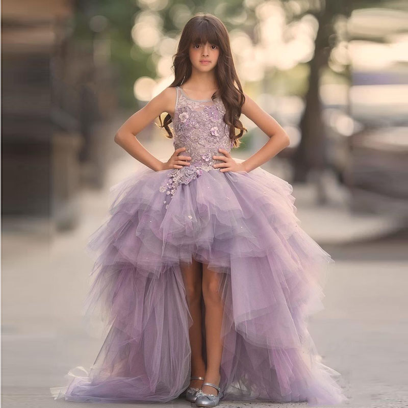 2019 Tulle High Low   Girl   Pageant   Dress   Lovely   Flower     Girl     Dress   3D Floral Appliques   Girls   Prom Gown Junior Birthday Party   Dress