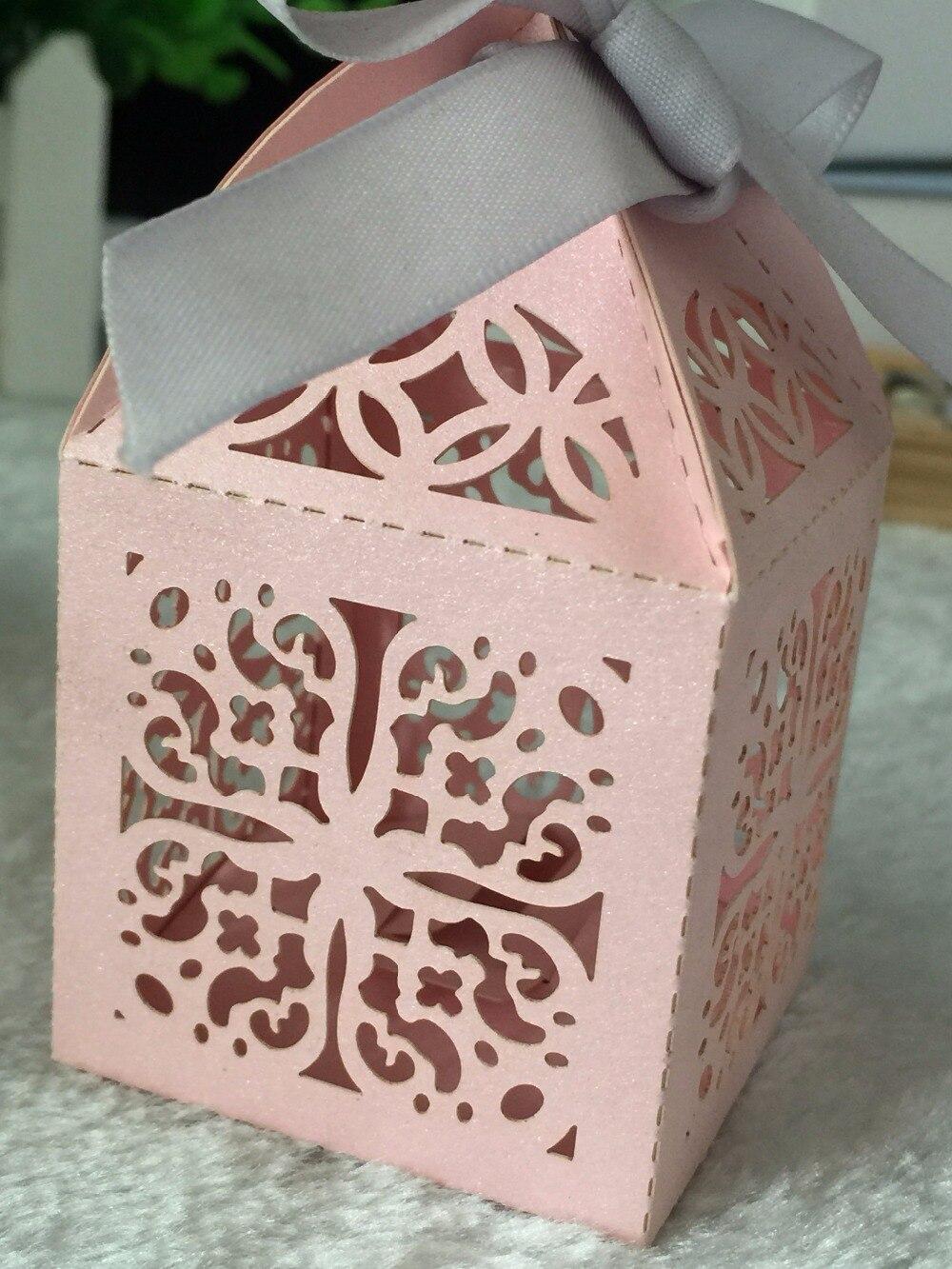 100pcs freeshipping Pink Candy Box with ribbon,Laser Cut Wedding ...