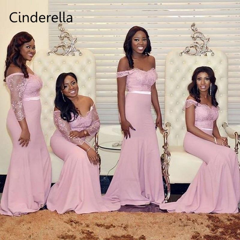 Cinderella Pink V-Neck Off The Shoulder Sweep Train Lace Applique Satin Bridesmaid Dresses Wedding Party Bridesmaid Dresses