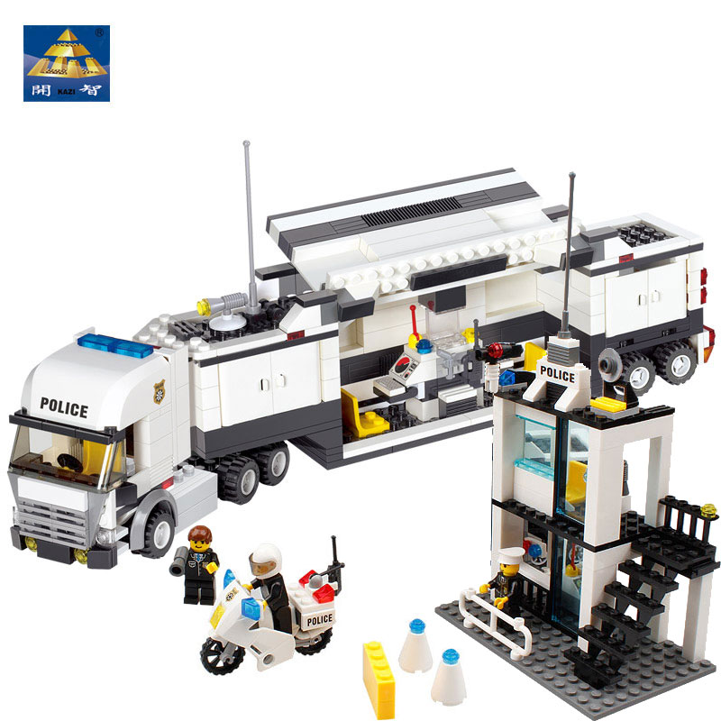 Building Blocks Toys City Police Trucks Command Compatible With High Quality Plastic Bricks Scale Models Kazi Brand city series police car motorcycle building blocks policeman models toys for children boy gifts compatible with legoeinglys 26014
