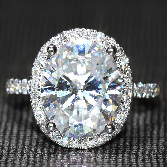 4.2 Carat ct FGH Color Oval Cut Engagement Wedding Lab Grown Moissanite Diamond Ring With Real Diamond Accents14K 585 White Gold
