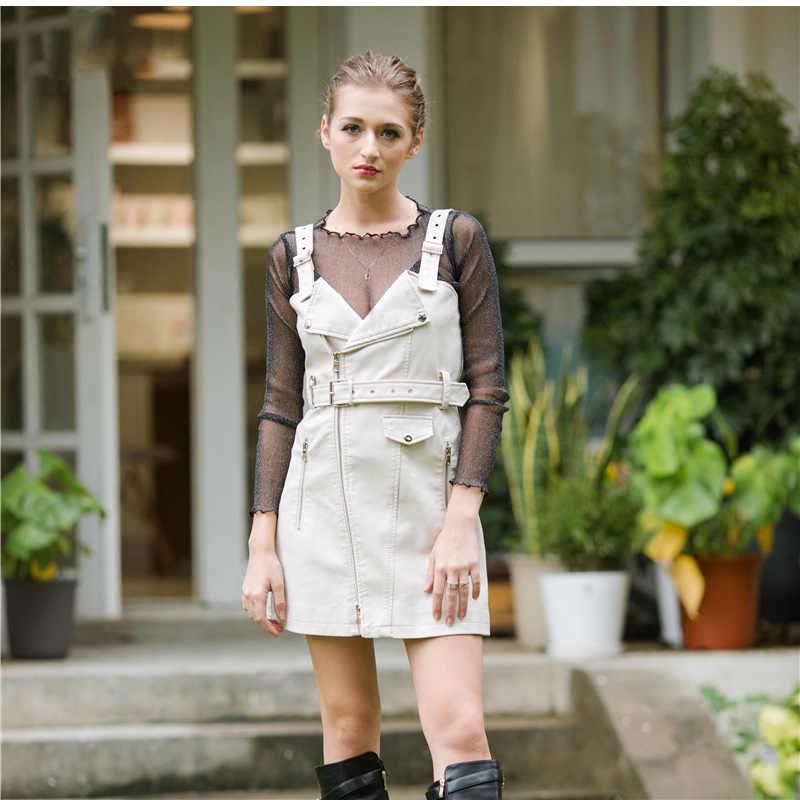 Новое модное платье из искусственной кожи женское Мини сексуальное платье на бретелях с поясом на молнии Зимний черны