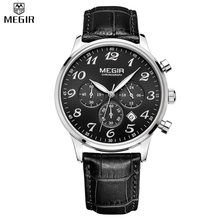 MEGIR Chronograph Quartz Military Men Genuine Leather Casual Watches Multifunction Digital Waterproof Watches Relogio Masculino