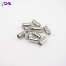 20pcs/Lot 10mm Cylinders Leather Cord End Caps Tassel Crimp End Connector Cord Ends Lock Toggle Clip for Stopper silver nickel