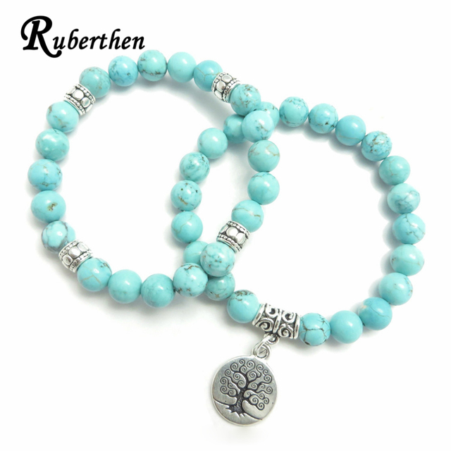 Ruberthen Tree of Life jewelry Yoga Mala Bracelet Stone Healing Protection Elastic Beaded Stacking Bracelet Spiritual jewelry 2