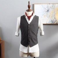 British Vintage Men Suit Vest Fashion Waistcoat Dress Office Business Wedding Blazer Vest Casual Slim Man Clothes