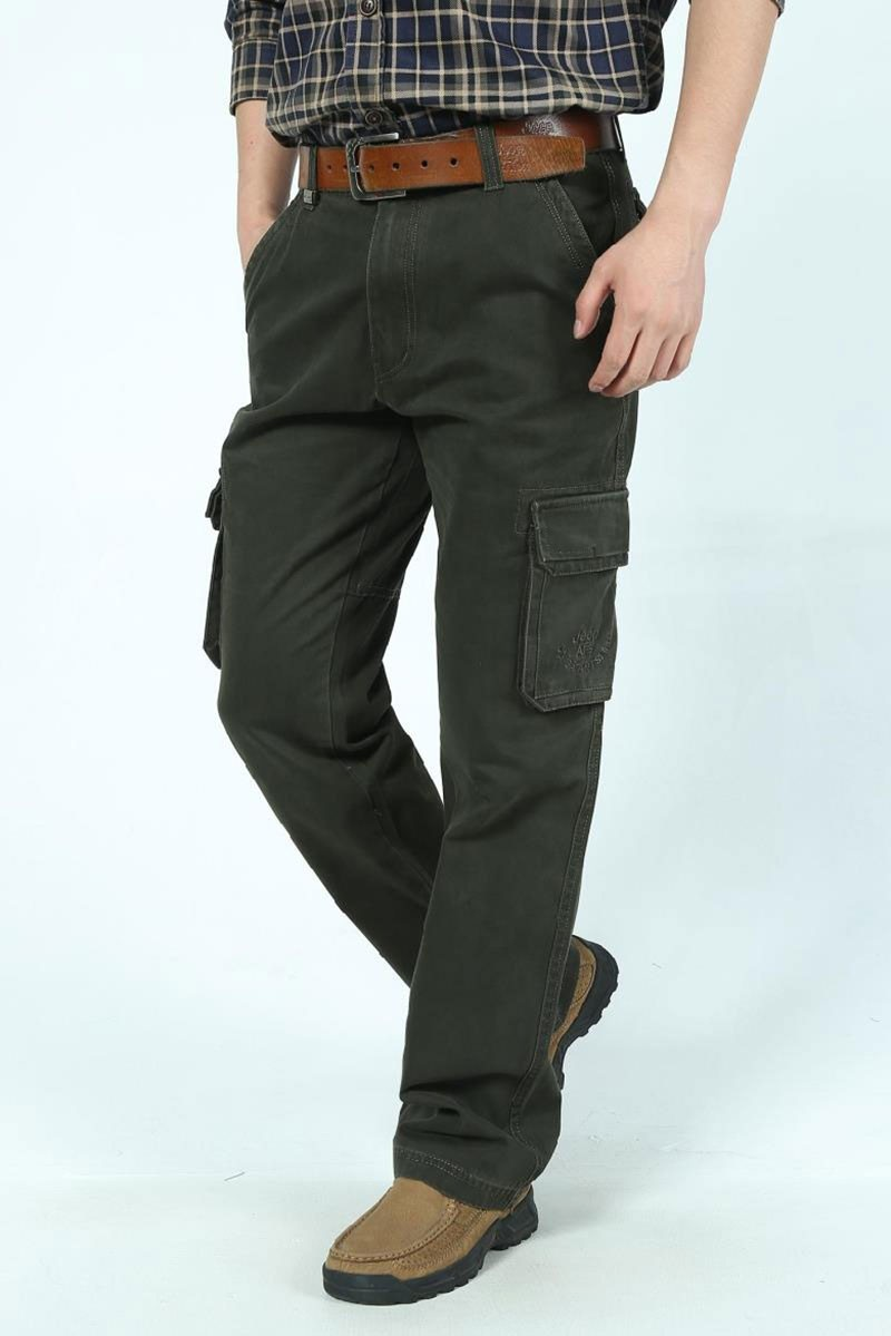 2016 Mens\' Spring Autumn Cotton Cargo Long Pants Pocket Brand AFS JEEP Casual Straight Plus Size Trousers Breathable Pants Khaki (8)