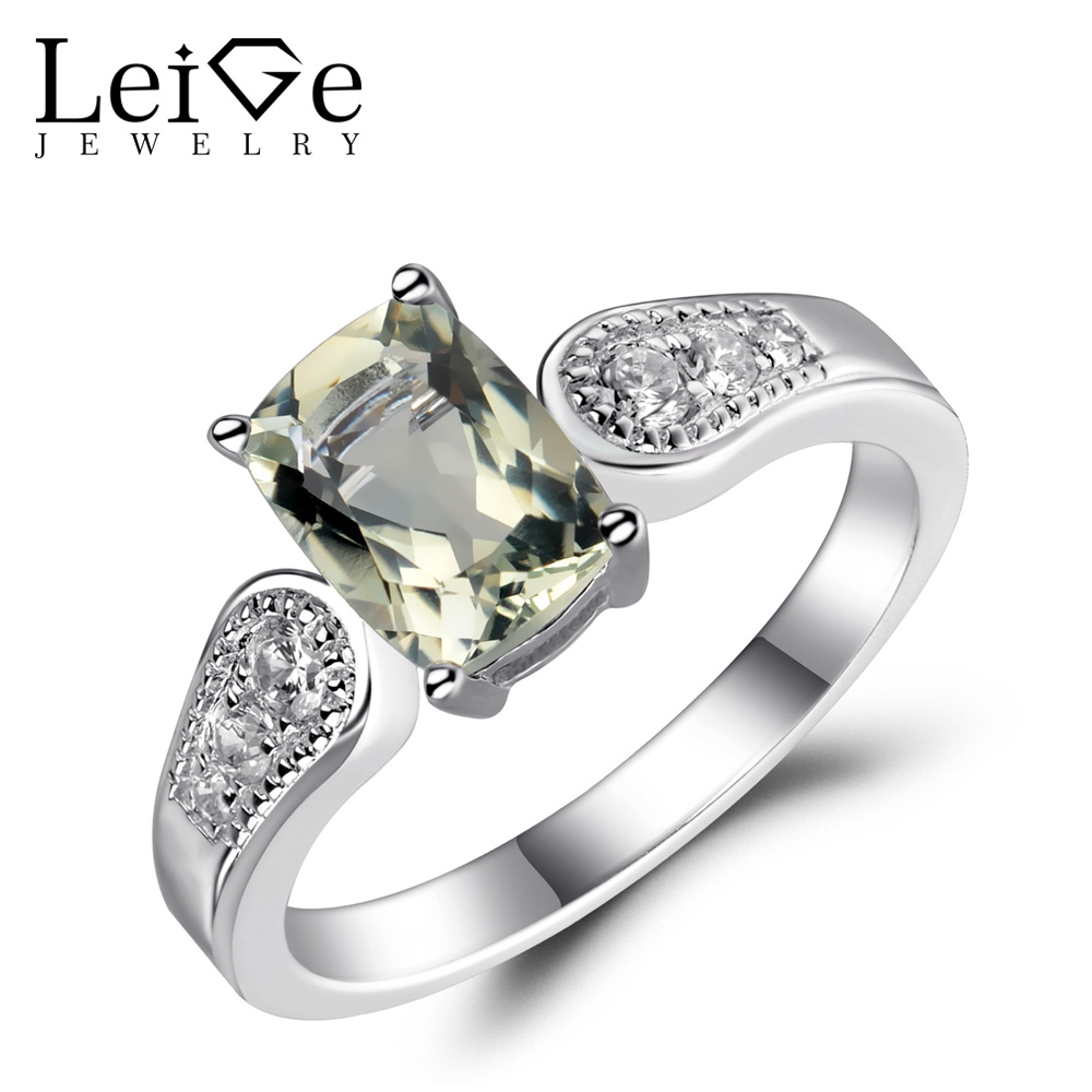 Leige Jewelry Green Amethyst Ring Sterling Silver 925 Jewelry Gemstone Natural Cushion Cut Engagement Wedding Rings for Women