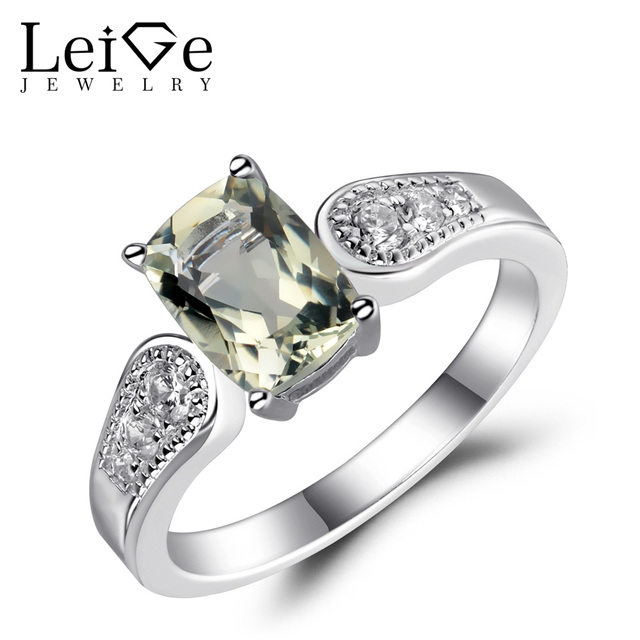 leige jewelry green amethyst ring sterling silver 925 jewelry gemstone natural cushion cut engagement wedding rings - Green Wedding Rings