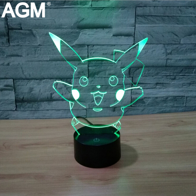 Novelty pikachu pokemon ir night lights mega colección 3d táctil lámpara de mesa 7 Color RGB 3D LED NightLights Para Regalo de Los Cabritos