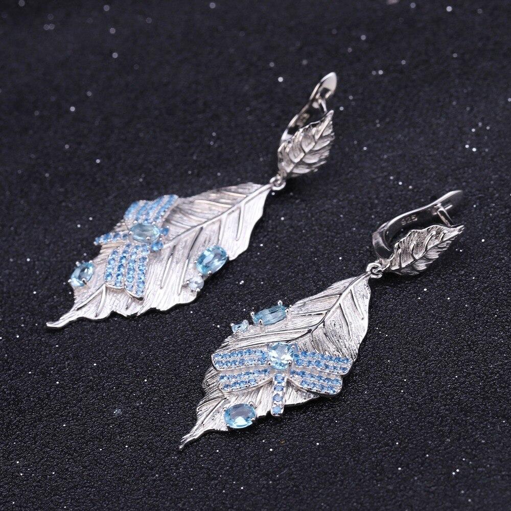GEM'S BALLET 1.57Ct naturel bleu suisse boucles d'oreilles topaze 925 en argent Sterling à la main longues feuilles boucles d'oreilles pour femmes Bijoux-in Boucles d'oreilles from Bijoux et Accessoires    2