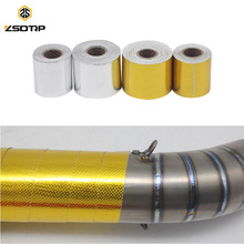 ZSDTRP 5M/10M Gold/silver Aluminum Reinforced Tape Heat Shield Adhesive Backed Resistant Intake Wrap for Exhaust Pipe (China)