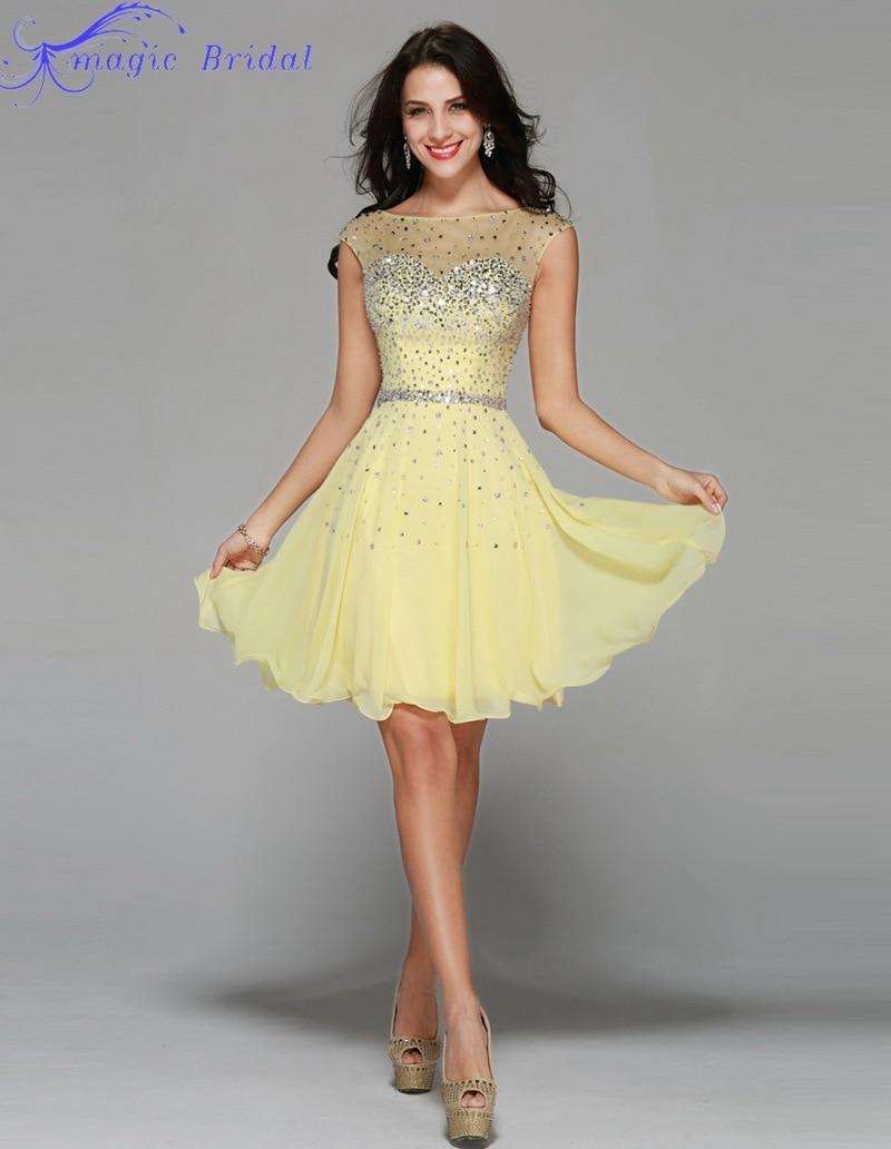 Vestido amarillo corto fiesta