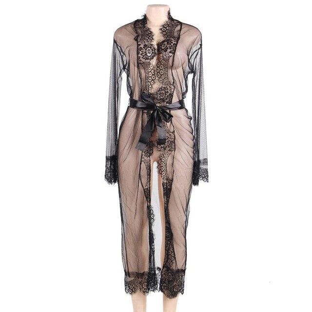 8dc59c8b2 Sexy Lace Nightgown See Through Long Night Dress Women Kimono Robe Hot  Lingerie Sleepwear
