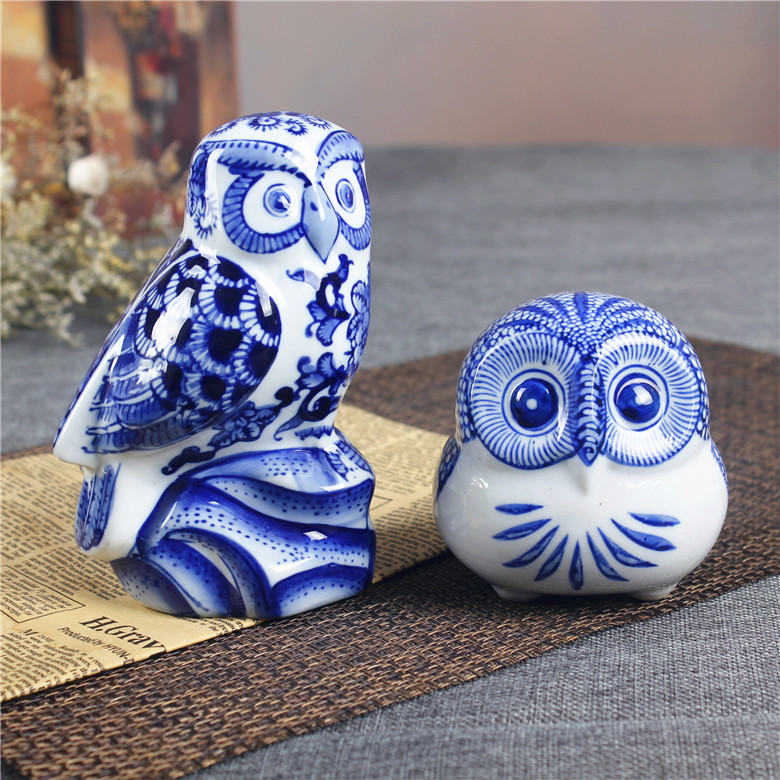 Blue And White Porcelain Owl Figurine Handmade Ceramic Animal Statue Mascot China Decoration Gift Craft Ornament Accessories In Figurines Miniatures