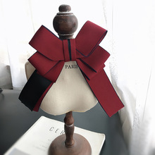 цена на MIARA.L Bow-tie blouse exaggerated large bow-tie neckline decoration vintage British style dark red ribbon cravat ornaments