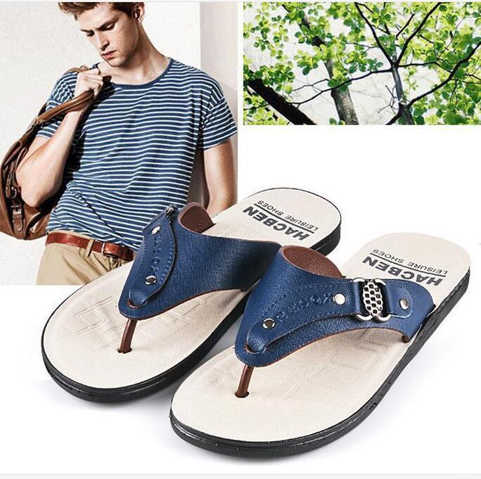 Flip Flops Men Beach Casual Fashion Brand 2017 Platform Leather Sandals Summer Slides Men Free Shipping Leisure Quality Hot Sale hot sale free shipping 2015 new men s summer sandals