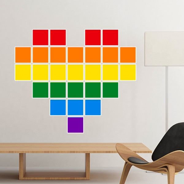 LGBT Rainbow Gay Lesbian Transgender Bisexuals Support Small Box Heart Illustration Sticker Art Decals Wallpaper for Room Decal