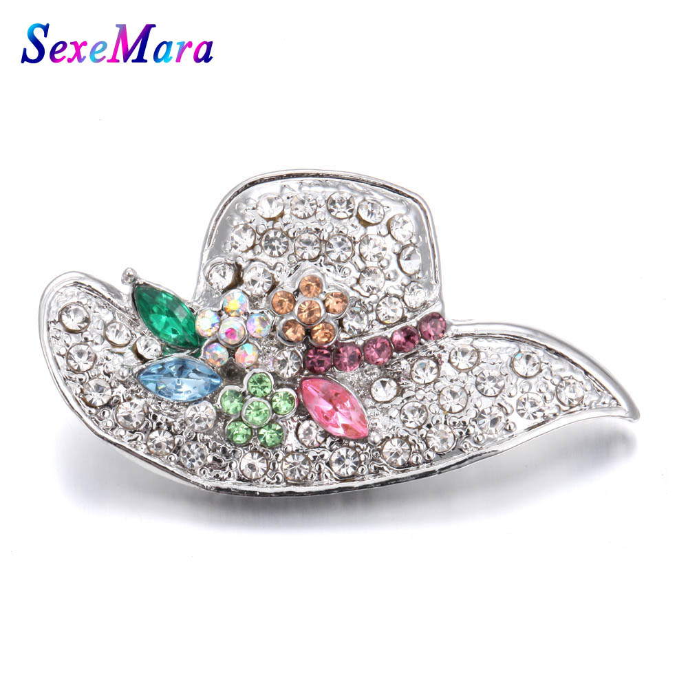 New Fashion Snap Jewelry Full Rhinestone Hat 18mm Snap Buttons Fit Silver Leather Snap Bracelet Bangles DIY Charms Jewelry