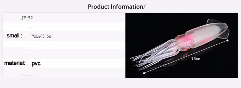 75mm Octopus Lures Glow in Dark Luminous Bulb Squid Skirts Soft Trolling Lures Bait Fishing Tackle Saltwater (2)