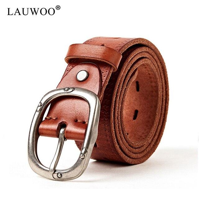 57302a011d0 LAUWOO Nouveaux Hommes de Cru véritable ceinture en cuir Hommes casual  Creux réel cowskin ceinture En