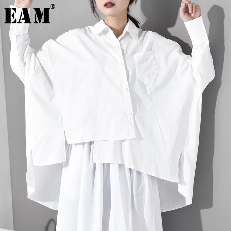 [EAM] 2019 New Autumn Winter Lapel Long Sleeve White Loose Irregular Hem Big Size Oversize Shirt Women Blouse Fashion JS9210