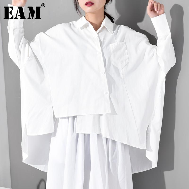[EAM] 2020 New Spring Autumn Lapel Long Sleeve White Loose Irregular Hem Big Size Oversize Shirt Women Blouse Fashion JS9210