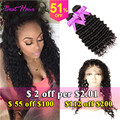 360 Lace Frontal With Bundle Deep Wave Brazilian Hair 2 Bundles With Frontal Closure 7A 360 Lace Virgin Hair Curly With Bundles