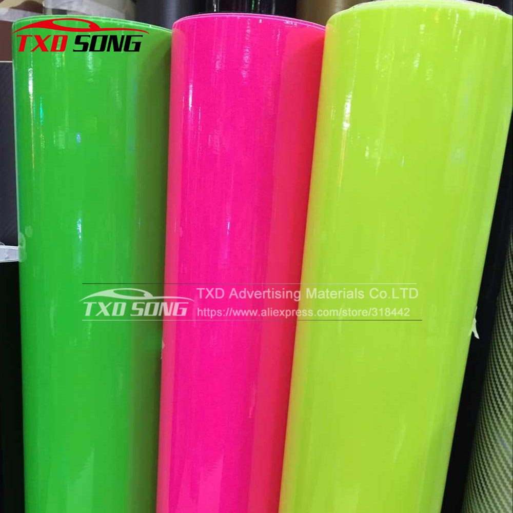Image 2 - 10/20/30/40/50/60x152CM Fluorescent yellow glossy vinyl wrap film Glossy Vinyl sticker with air free bubbles by free shipping-in Car Stickers from Automobiles & Motorcycles
