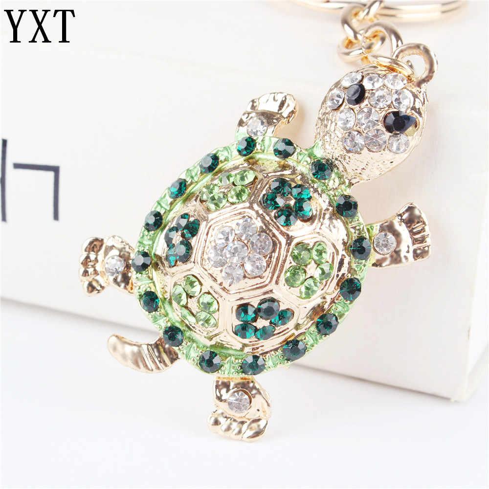 Green Tortoise Tartaruga Pingente Charme Rhinestone Cristal Bolsa Bolsa Chaveiro Chave de Cadeia de Acessórios De Casamento Amigo Presente Do Amante