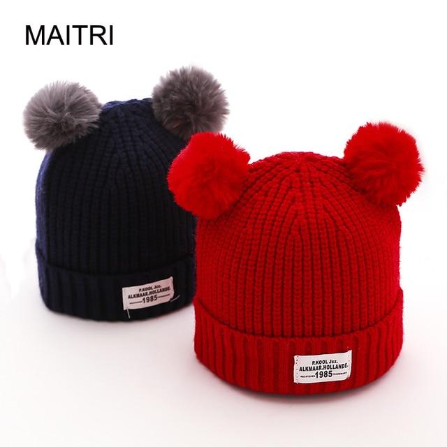 16299fef646 MAITRI For 0-12 Months 2017 New Kids Baby Winter Beanie Hat Fashion Double  Fur Pom Poms Baby Boy Girl Warm Cap