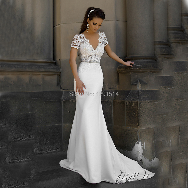 Short Sleeve Simple Wedding Dress: Milla Nova Designer Mermaid Wedding Dresses 2017 Sexy