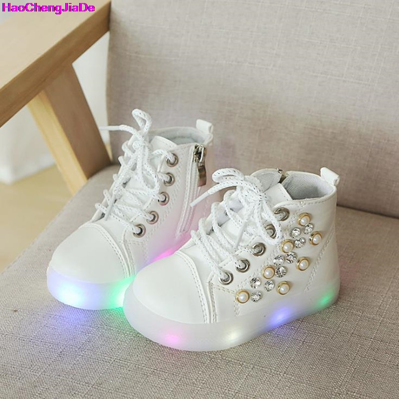 HaoChengJiaDe Kids Shoes Luminous Autumn Toddler Boys Glowing Sneakers Child Sports Shoes For Baby Girls Led Sneaker With Light все цены
