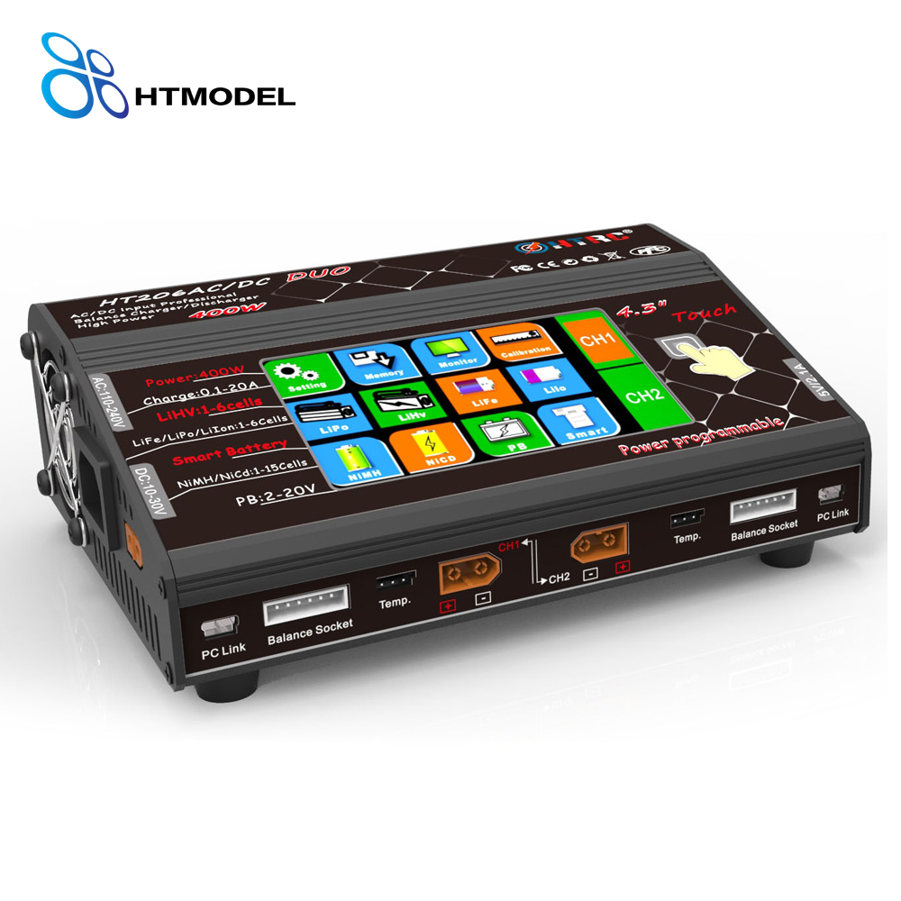 HTRC HT206 DUO AC/DC 200W*2 20A*2 Dual Port High Power Color Touch Screen RC Balance Charger for Lilon/LiPo/LiFe/LiHV Battery браслет power balance бкм 9661