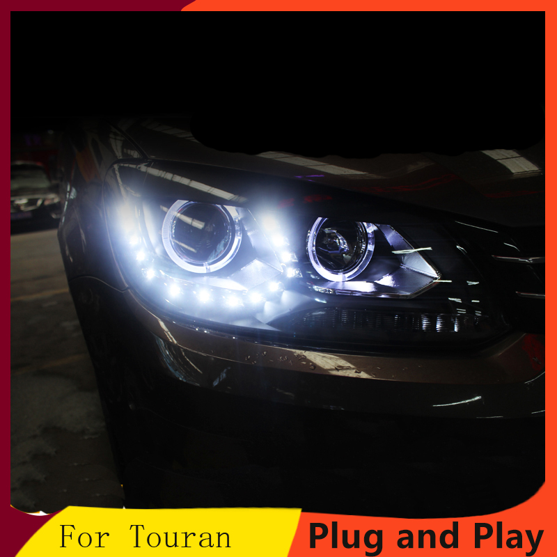 KOWELL Car Styling For V W Touran headlights 2011 2015 For Touran head lamp led DRL