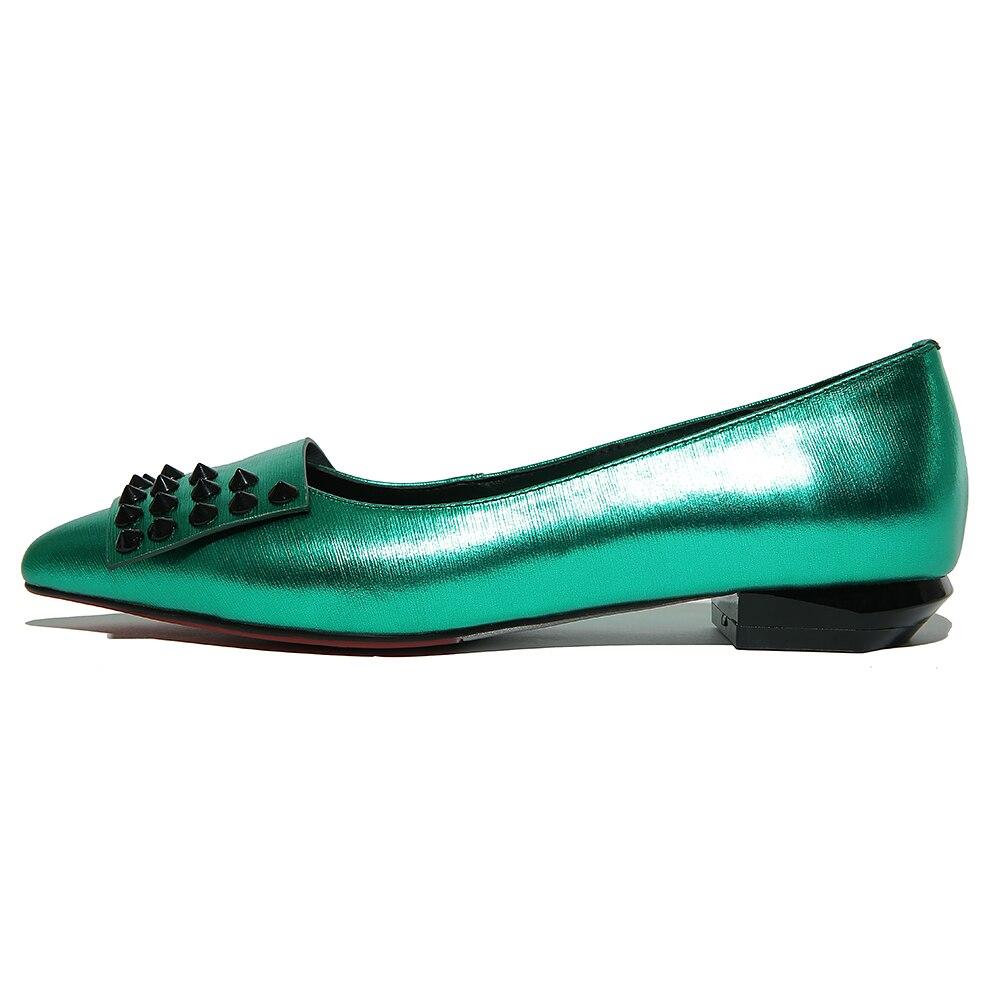 42 33 amp; silver Green Grande Qualité Couleurs Rivets 2 Cuir Automne Haute En Ressort Pqecfs Solides Pompes Femmes Taille Véritable HtEFwq0tS