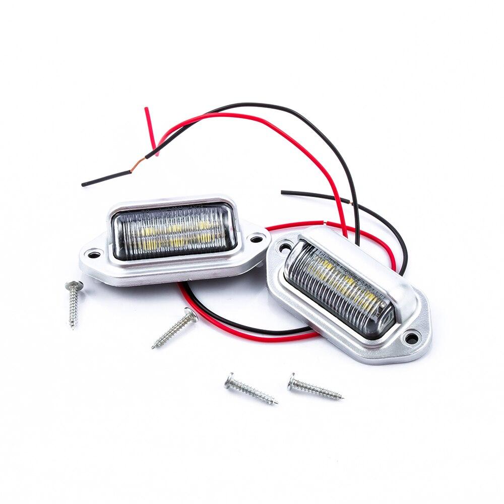 2pcs 6 LED License Plate Tag Light Boat RV Truck Trailer Interior Door Step Lamp