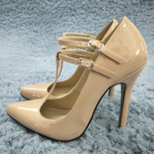 Women Stiletto Thin High Heel Pumps Sexy Pointed Toe T-Strap Beige Patent Party Ball Fashion Lady Shoes 0640-i
