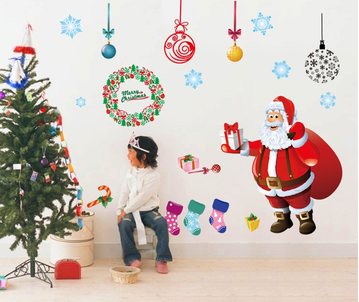 Buy santa claus christmas wall stickers for Christmas wall mural