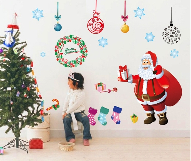 Buy santa claus christmas wall stickers for Christmas window mural