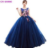 CX SHINE blue Appliques Embroidery flower Long Evening Dresses Bride formal Performance show Ball gowns Robe Party Prom Dress
