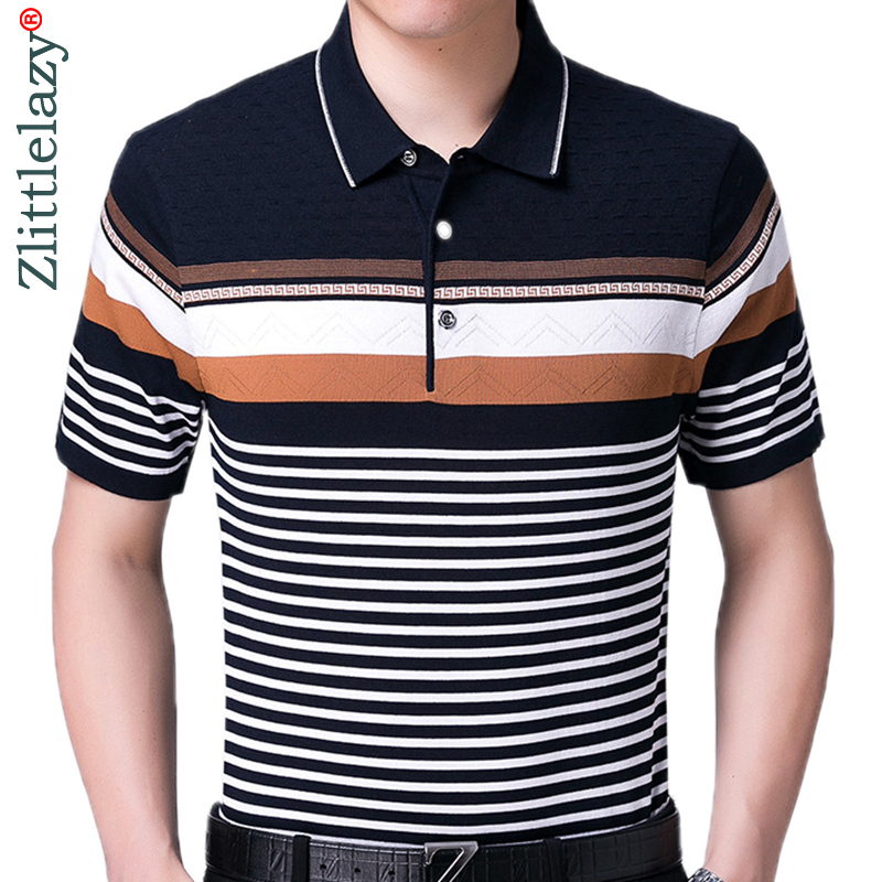 Summer polo shirt men short sleeve polos shirts striped slim fit mens pol clothes dress bodybuilding streetwear poloshirt 1092