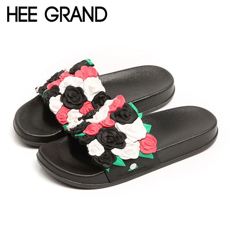 HEE GRAND Flower Decoration Women Slippers Flats with Platform Women Fashion Slide for Beach and sea Slide Plain Shoes XWT1143 commercial sea inflatable blue water slide with pool and arch for kids