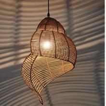 South Asia Art Decoration Conch Shape Pendant Light Hand Knitted Wicker Balcony Hanging Lighting Lamp Bar Restaurant Kitchen Led