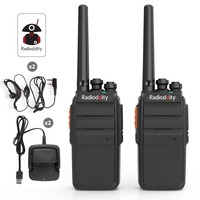 2 PCS Radioddity R2 Two Way Radio 16CH UHF Scrambler PMR 446Mhz VOX Walkie Talkie Long Range with USB Charger + Earpiece